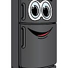 Black Refrigerator Cartoon by Graphxpro