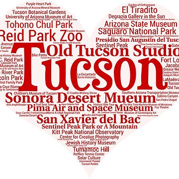Heart of Tucson Red Heart Word Cloud Products by Mel747