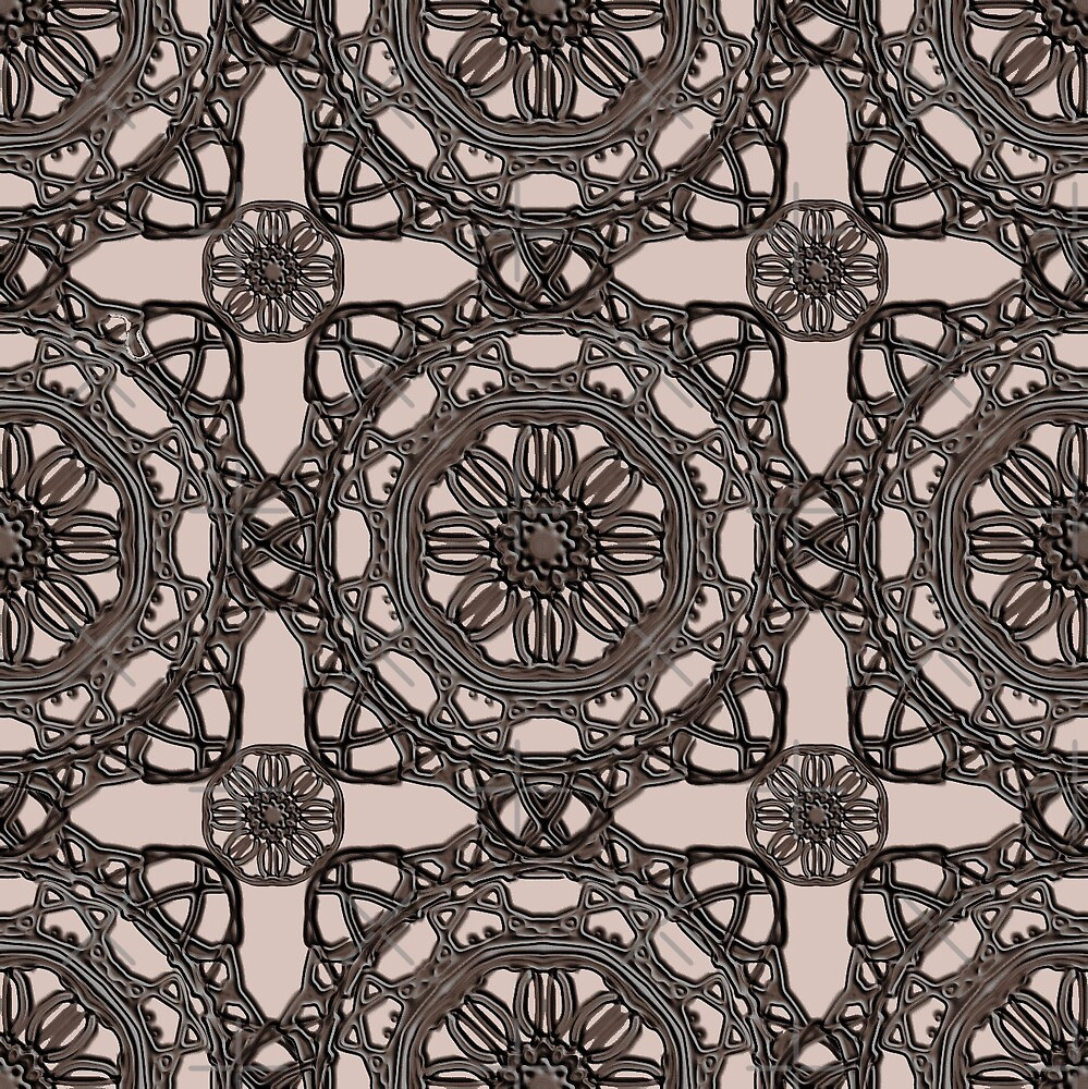 Crossed Floral Lace in Brown on Beige by TC-TWS