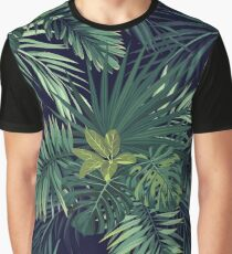 Seamless hand drawn botanical exotic vector pattern with green palm leaves Graphic T-Shirt