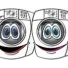 White Front Load Washer Dryer Cartoon by Graphxpro