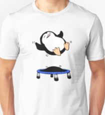 Funny Cute baby penguin on trampoline Unisex T-Shirt