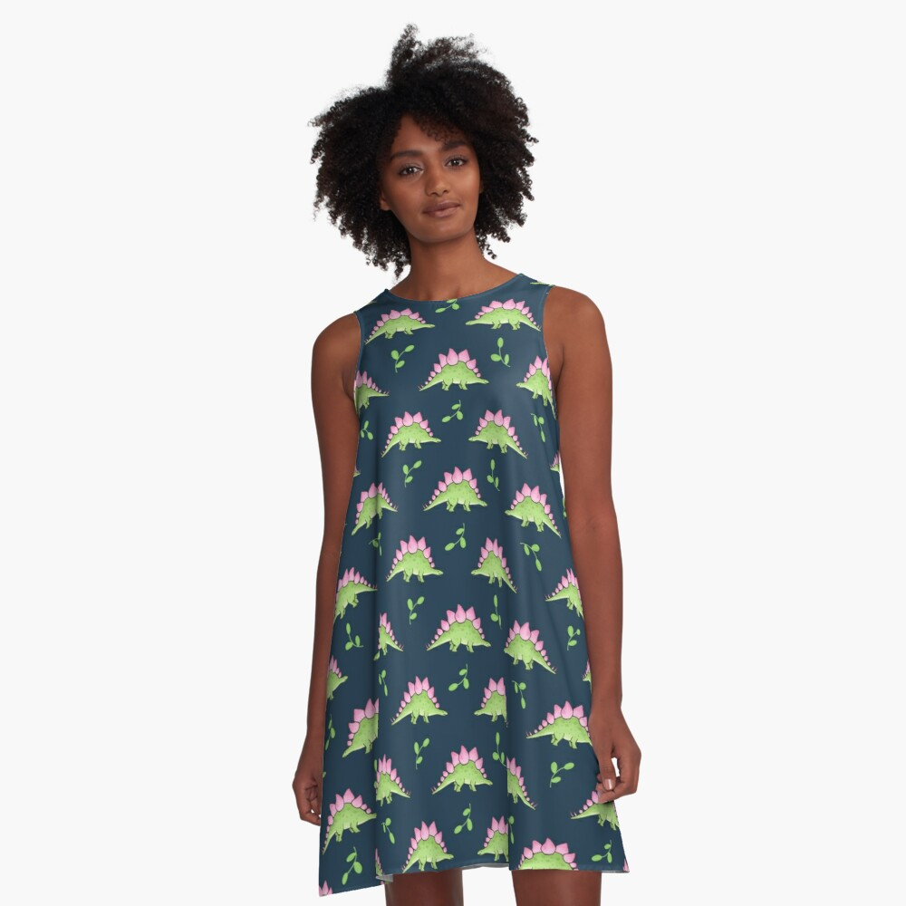 Green and Pink Stegosaurus Dinosaur on navy with leaves A-Line Dress Front