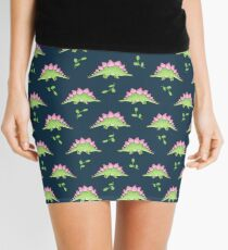 Green and Pink Stegosaurus Dinosaur on navy with leaves Mini Skirt