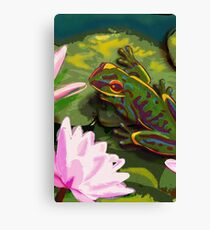 Frog on a lily pad Canvas Print