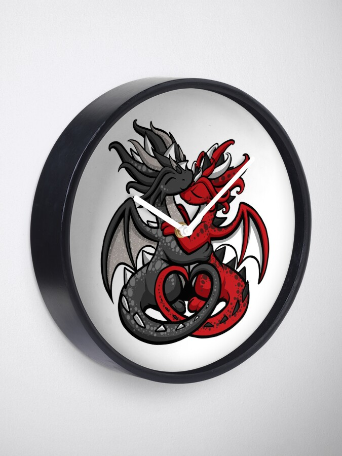 Alternate view of Dragon Couple Black and Red Clock