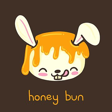 Honey Bun cute bunny illustrated pun by Punstoppable