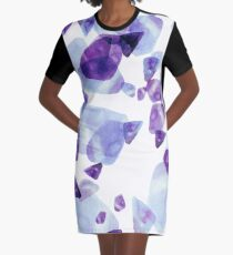 Ultraviolet Watercolor Home Decor Graphic T-Shirt Dress