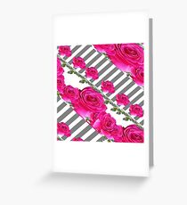 GREY ART CERISE PINK ROSE GARDEN  Greeting Card