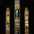 Leadlight window at St Joseph Catholic Church, Hanoi Vietnam by Bev Pascoe