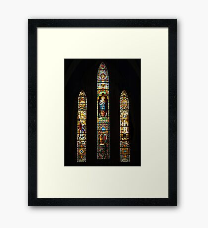 Leadlight window at St Joseph Catholic Church, Hanoi Vietnam Framed Print