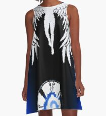 Mayan Butterfly with Angels Blue A-Line Dress