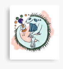 Girl and iguana Canvas Print