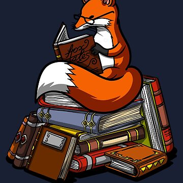 Fox Book Reading Lover Cute Geek Librarian by underheaven