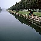 Fishermen on Grand Canal Fontainbleu France 19840829 0002 by Fred Mitchell