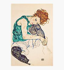 HD Seated Woman With Legs Drawn Up , by Egon Schiele - HIGH DEFINITION Photographic Print
