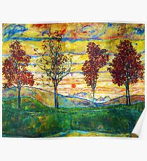 HD Four Trees, by Egon Schiele -  HIGH DEFINITION Poster