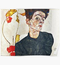 HD Self Portrait with Physalis by Egon Schiele 1914 HIGH DEFINITION Poster