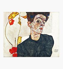 HD Self Portrait with Physalis by Egon Schiele 1914 HIGH DEFINITION Photographic Print