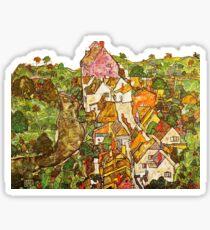 HD Paysage à Krumau, par Egon Schiele 1916. HAUTE DÉFINITION Sticker