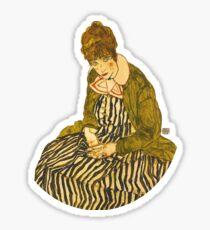 HD Edith Schiele, la femme de l'artiste, assise, par Egon Schiele, 1915 HIGH DEFINITION Sticker