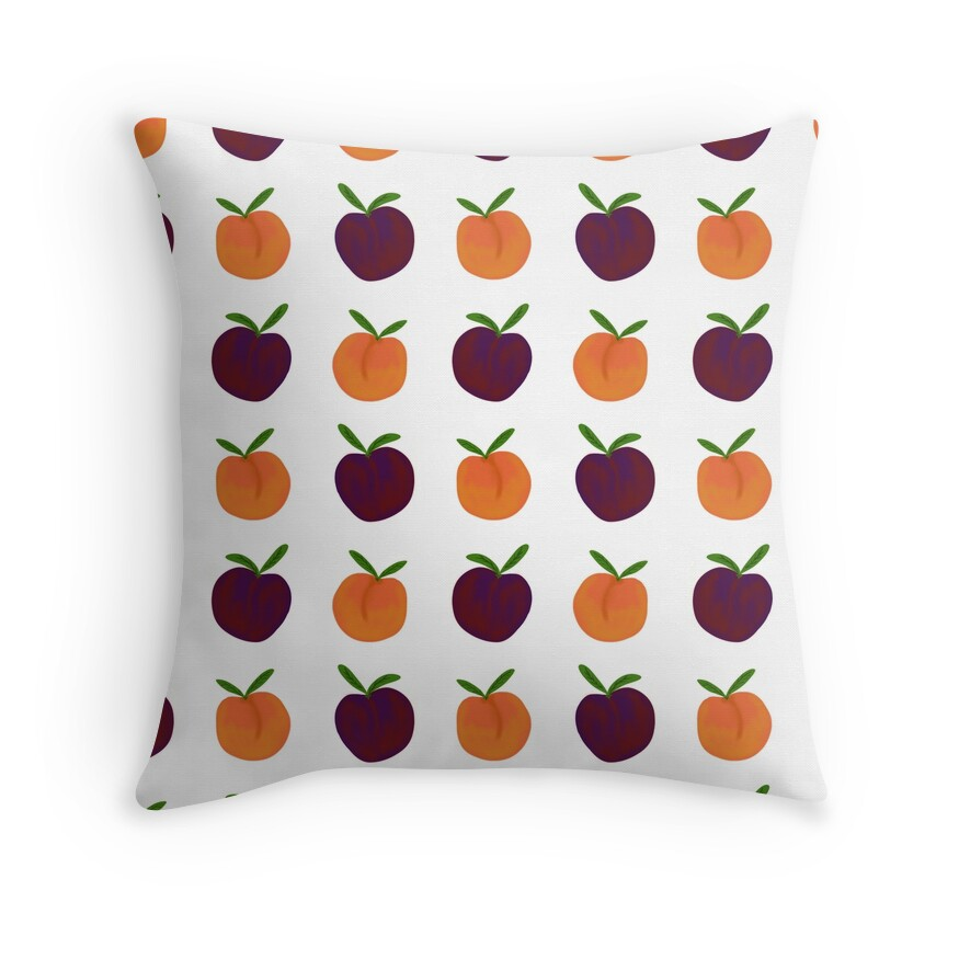 Peachy Plummy Hand-Painted Orchard Fruits in Orange and Purple