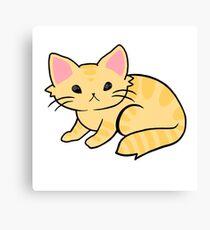 Tan Cartoon Cat Canvas Print