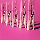 Row of pink pegs by Jodie Johnson