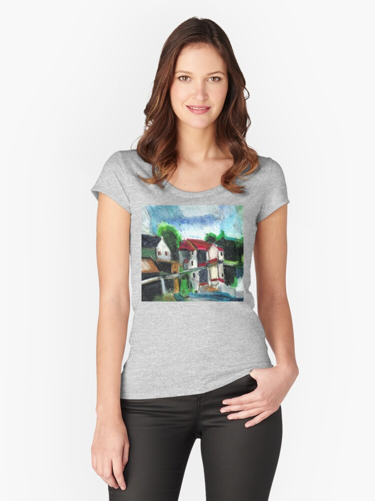 On The Riverfront Women's Fitted Scoop T-Shirt Front