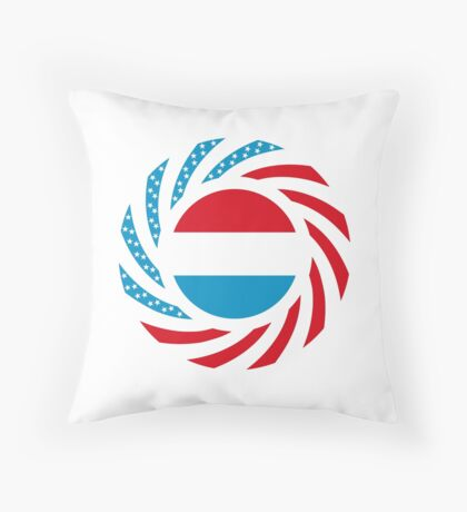 Luxembourgish American Multinational Patriot Flag Series Throw Pillow