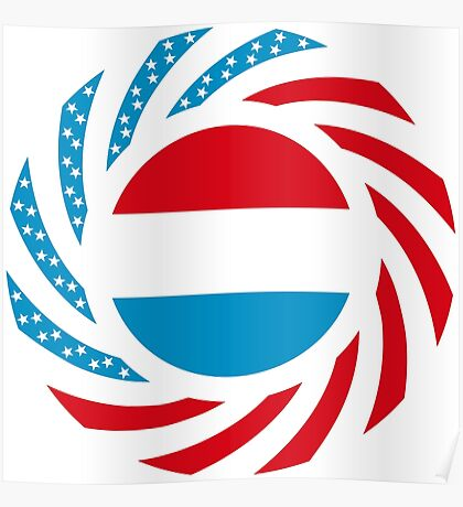 Luxembourgish American Multinational Patriot Flag Series Poster