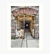 Tunnel leading to machine rooms, Bateria de Cenizas, Costa Calida, Spain  Art Print