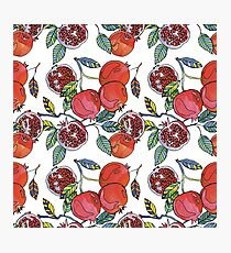 fruit pomegranate. Watercolor fruit pomegranate pattern Photographic Print