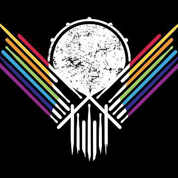 Retro Musician Skull Drummer Drummer Band by anziehend