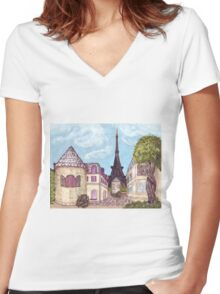 Paris Eiffel Tower inspired impressionist landscape by Kristie Hubler Women's Fitted V-Neck T-Shirt