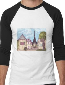 Paris Eiffel Tower inspired impressionist landscape by Kristie Hubler Men's Baseball ¾ T-Shirt