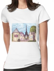 Paris Eiffel Tower inspired impressionist landscape by Kristie Hubler Womens Fitted T-Shirt