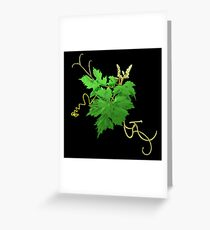 Vine Leaves and Tendrils on black Greeting Card