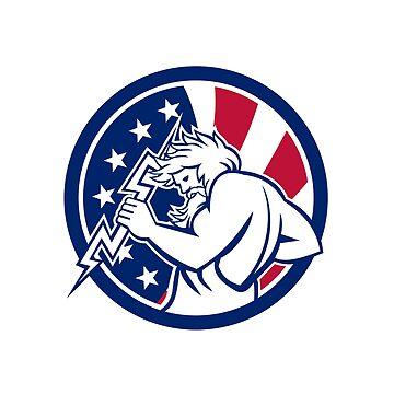 Zeus With Thunderbolt USA Flag Icon by patrimonio