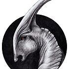 Albino Parasaurolophus Walkeri - Paleo Portrait by MonoMano