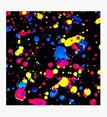 The 80s Retro Dream - Blue Pink and Yellow Paint on Canvas Photographic Print