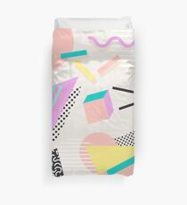 80s / 90s RETRO ABSTRACT PASTEL SHAPE PATTERN  Duvet Cover