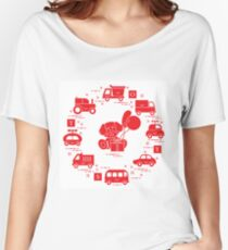 Baby cars, cubes, puppy, gift, balloons. Women's Relaxed Fit T-Shirt