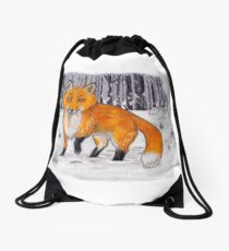 Fox on a Bunny Hunt Drawstring Bag
