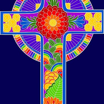 Rainbow Celtic Style Christian Cross by Alondra