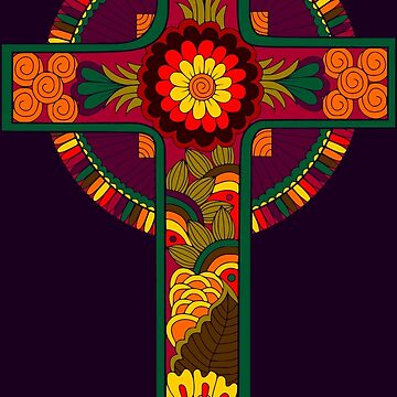 Colorful Celtic Cross with Floral Design  by Alondra