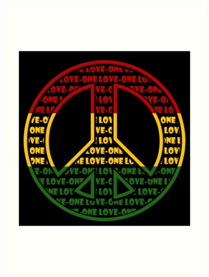 Rasta Peace Sign Art Prints By Mellowgroove Redbubble