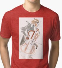 Cello Player Musician Expressive Drawing Tri-blend T-Shirt