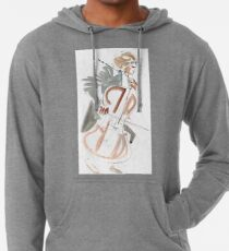 Cello Player Musician Expressive Drawing Lightweight Hoodie