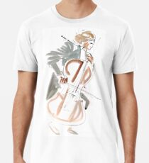 Cello Player Musician Expressive Drawing Premium T-Shirt